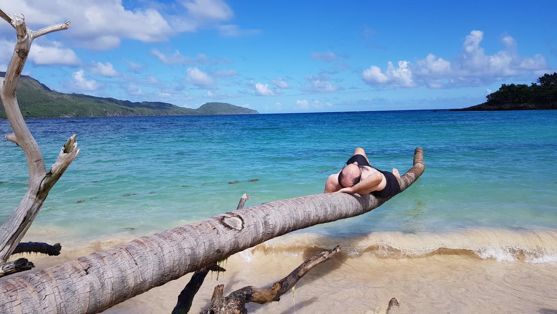 Relaxando na praia de El Rincon, República Dominicana