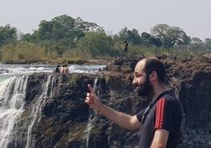 Me preparando para o mergulho na Devils Pool - Vista de Victoria Falls, Zimbabwe
