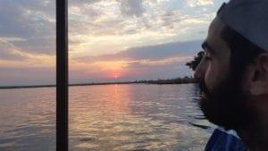 Por do sol no Rio Chobe, Overland Tour em Botswana