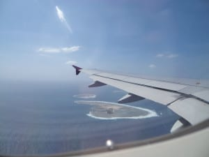 Vista aérea de ilha em Okinawa
