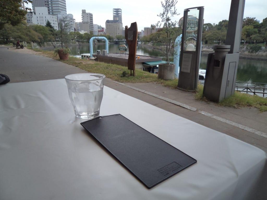 Conta em restaurante em Hiroshima, no Memorial da Paz