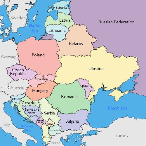 Mapa Leste Europeu. Fonte: https://goeasteurope.about.com/