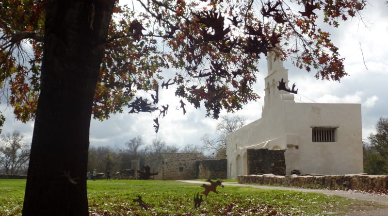 02 - Missión San Juan e as folhas de inverno de San Antonio, Texas, EUA