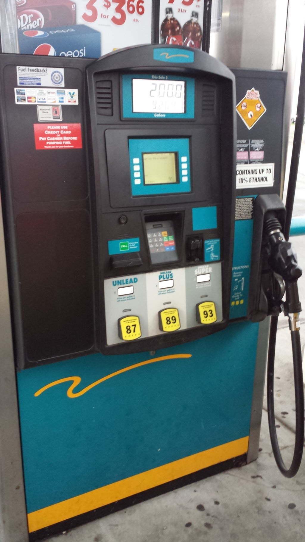 Bomba de gasolina nos EUA - Três tipos de gasolina