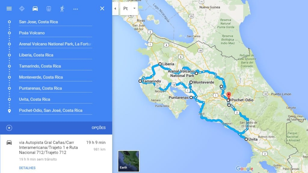 Rota Preliminar de carro - Costa Rica