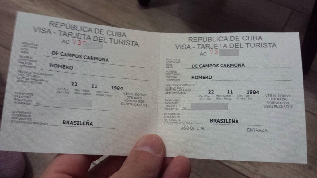 Tarjeta Turística, o visto de turismo para Cuba