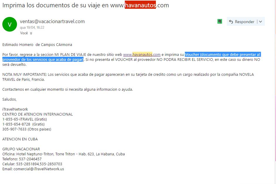 E-mail Confirmação Havanautos - Alugar carro em cuba