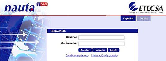 Tela de autenticação da Nauta, internet em Cuba
