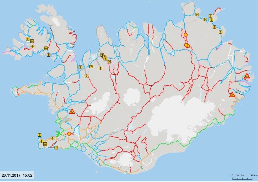 Mapa das condições das estradas da Islândia em Nov-2017 - fonto road.is