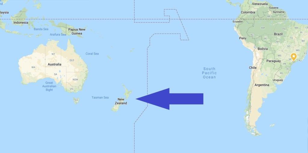 Onde Fica a Nova Zelândia - Fonte - Google Maps