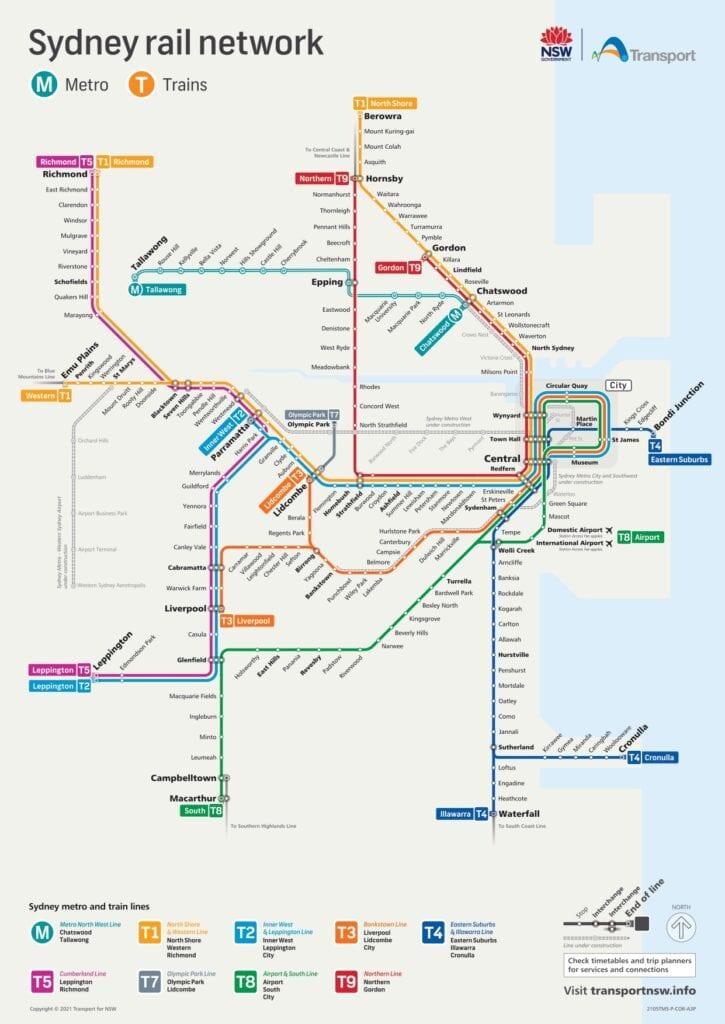 Trem e metro em Sydney